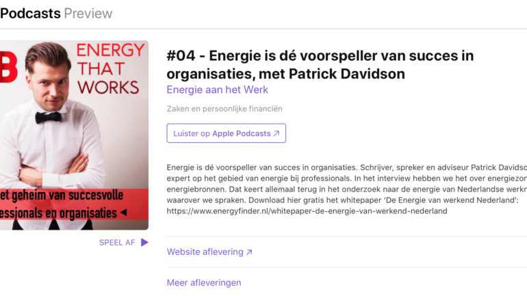Voor in de auto: Patrick Davidson te gast bij de podcast 'Energy that Works'