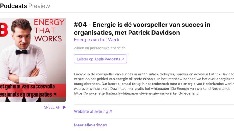 Voor in de auto: Patrick Davidson te gast bij de podcast 'Energy that Works'